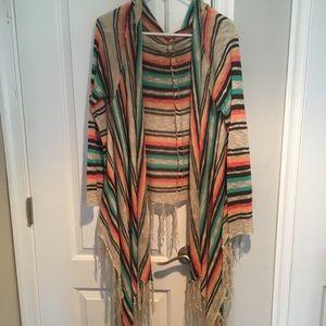 Sweaters - Colorful, light, hooded kimono